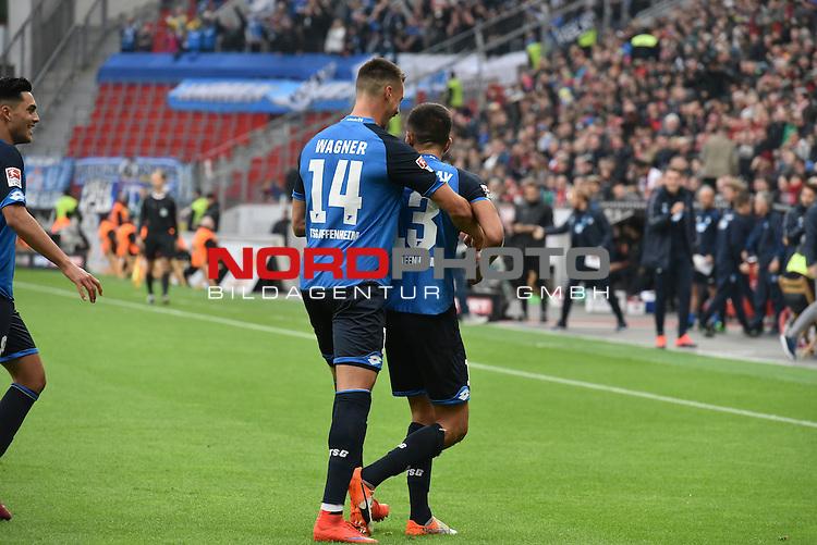 22.10.2016, BAYARENA, Leverkusen, GER, 1.FBL., Bayer 04 Leverkusen vs. TSG 1899 Hoffenheim  <br /> <br /> im Bild / picture shows: <br /> freune sich &uuml;ber das 1:0 Sandro Wagner ( Hoffenheim) und Kerem Demirbay (Hoffenheim #13), <br /> <br /> <br /> <br /> Foto &copy; nordphoto / Meuter