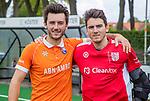 BLOEMENDAAL -  Arthur van Doren (Bldaal) met keeper Loic van Doren (Den Bosch)   na de   hoofdklasse competitiewedstrijd hockey heren,  Bloemendaal-Den Bosch (2-1)   COPYRIGHT KOEN SUYK
