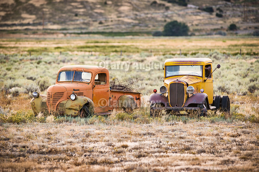 Roadside car and truck collection weathering along the road, East Ely, Nev.
