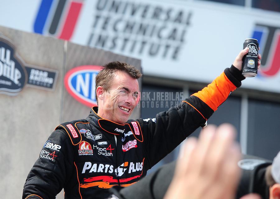 May 1, 2011; Baytown, TX, USA: NHRA top fuel driver Clay Millican during the Spring Nationals at Royal Purple Raceway. Mandatory Credit: Mark J. Rebilas-
