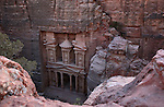 "View of  Al Khazneh known as  ""The Treasury"", one of the most elaborate buildings in the ancient Jordanian city of Petra. Petra is the most visited tourist attraction in Jordan, a symbol of the country for its historical and archaeological importance. It has been a UNESCO World Heritage Site since 1985."