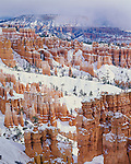 Bryce Canyon National Park, UT: Fresh snow on hoodos and ridges of The Queens Garden and Boat Mesa for Sunset Point