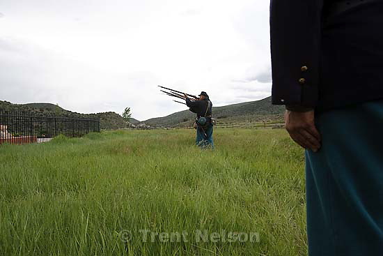Mountain Meadows - Kent Dunlap leads an honor guard made up of descendants of the Mountain Meadows Massacre survivors, firing a 21 gun salute during a commemoration at the site, Saturday May 30, 2009