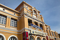 Phnom Penh Central Post Office has been in service since the late 1800s, except for the period when the Khmer Rouge blew up the central bank, banned money and emptied Phnom Penh of people. Renovated repeatedly, the grand colonial edifice overlooks a small square.