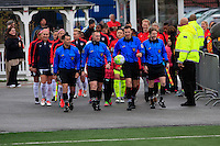 Rochester, NY - Friday April 29, 2016: The officials lead the teams onto the field. The Washington Spirit defeated the Western New York Flash 3-0 during a National Women's Soccer League (NWSL) match at Sahlen's Stadium.