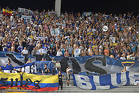 IBAGUE -COLOMBIA, 7-08-2016. Hinchas Millnarios. Acción de juego entre Millonarios vs Tolima   durante encuentro  por la fecha 7 de la Liga Aguila II 2016 disputado en el estadio Manuel  Murillo Toro./ Fans of Millonarios .Action game between  Millonarios  and Tolima  during match for the date 7 of the Aguila League II 2016 played at Mnauel  Murillo Toro stadium. Photo:VizzorImage / Juan Carlos Escobar Tagueno / Contribuidor