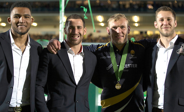 Worcester Warriors James Percival celebrates with team mates Dan Sanderson and Matt Cox<br /> <br /> Photo by Rachel Holborn/CameraSport<br /> <br /> Rugby Union - Greene King Championship Final 2nd Leg - Worcester Warriors v Bristol - Wednesday 27th May 2015 - Sixways Stadium - Worcester<br /> <br /> &copy; CameraSport - 43 Linden Ave. Countesthorpe. Leicester. England. LE8 5PG - Tel: +44 (0) 116 277 4147 - admin@camerasport.com - www.camerasport.com