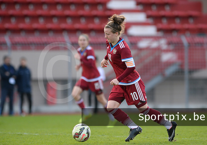 20150406 - MELUN , FRANCE  : Russian Margarita Chernomyrdina (10) pictured during the soccer match between Women Under 19 teams of Iceland and Russia , on the second matchday in group 3 of the UEFA Elite Round Women Under 19 at Stade Municipal , Melun , France . Monday 6th April 2015 . PHOTO DAVID CATRY