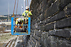 Repointing the seawall, Aberystwyth, Wales