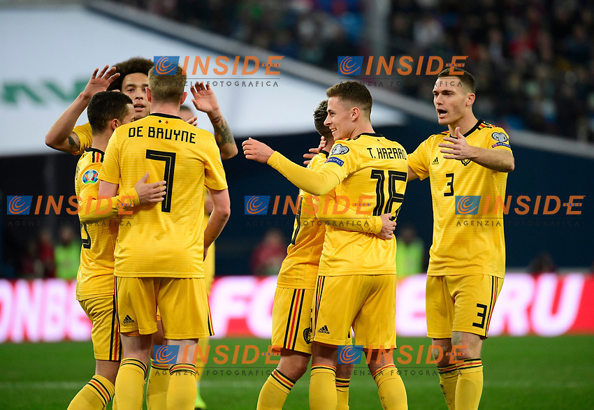 Goal of Thorgan Hazard midfielder of Belgium  <br /> Saint Petersbourg  - Qualification Euro 2020 - 16/11/2019 <br /> Russia - Belgium <br /> Foto Photonews/Panoramic/Insidefoto <br /> ITALY ONLY