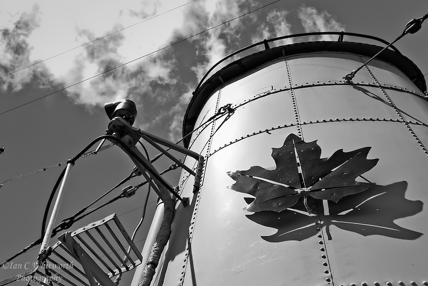 The retired Canadian WWII destroyer Haida's funnel in black and white