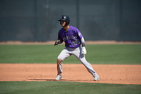 Colorado Rockies right fielder Manuel Melendez (20) during a Minor League Spring Training game against the Milwaukee Brewers at Salt River Fields at Talking Stick on March 17, 2018 in Scottsdale, Arizona. (Zachary Lucy/Four Seam Images)