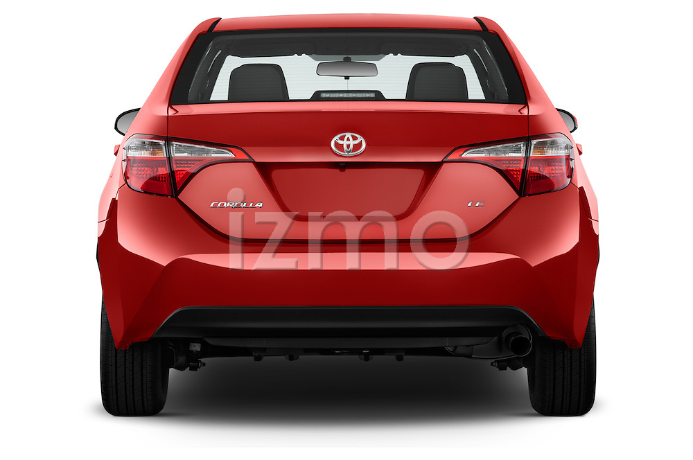Straight rear view of 2016 Toyota Corolla LE Plus 4 Door Sedan Rear View  stock images