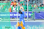 The Hague, Netherlands, June 05: Joyce Sombroek #1 of The Netherlands puts back on the helmet during the field hockey group match (Women - Group A) between New Zealand and The Netherlands on June 5, 2014 during the World Cup 2014 at Kyocera Stadium in The Hague, Netherlands. Final score 0-2 (0-2) (Photo by Dirk Markgraf / www.265-images.com) *** Local caption ***