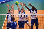 16.01.2019, ZF Arena, Friedrichshafen<br />Volleyball, 2019 CEV Volleyball Champions League, Vorrunde, VfB Friedrichshafen vs. Zenit St. Petersburg (RUS)<br /><br />Angriff Bartlomiej Boladz (#1 Friedrichshafen) - Block  / Dreierblock Sergey Antipkin (#4 St. Petersburg), Sergei Cherviakov (#1 St. Petersburg), Oreol Camejo (#15 St. Petersburg)<br /><br />  Foto &copy; nordphoto / Kurth