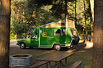 State Park Campground with Pine Cone, 1982 green Toyota Ranger mini camper with John Deer decal.
