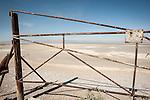Rusting gate at the mouth of the Alamo River, Salton Sea, Calif.