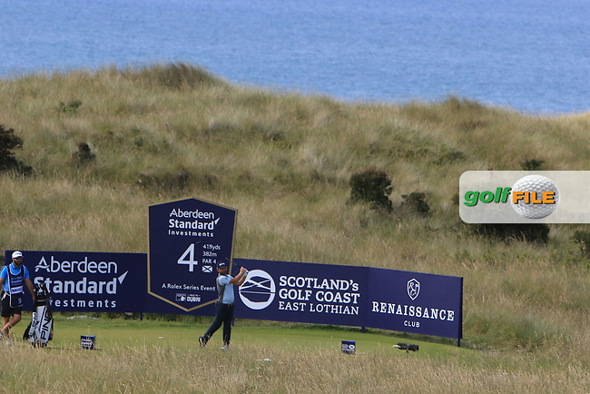 Andy Sullivan (ENG) on the 4th during Round 4 of the Aberdeen Standard Investments Scottish Open 2019 at The Renaissance Club, North Berwick, Scotland on Sunday 14th July 2019.<br /> Picture:  Thos Caffrey / Golffile<br /> <br /> All photos usage must carry mandatory copyright credit (© Golffile | Thos Caffrey)