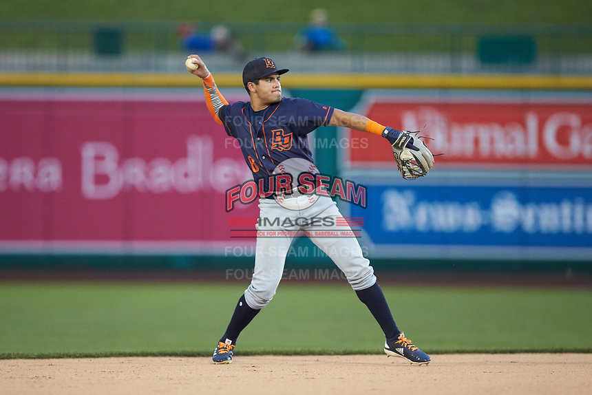 Bowling Green Hot Rods second baseman Jonathan Aranda (8) makes a throw to first base against the Fort Wayne TinCaps at Parkview Field on August 20, 2019 in Fort Wayne, Indiana. The Hot Rods defeated the TinCaps 6-5. (Brian Westerholt/Four Seam Images)