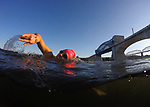 CHATTANOOGA, TN - SEPTEMBER 8:  A general view of a triathlete practicing the swim course in the Tennessee River under the John Ross Bridge during the warm-ups for the IRONMAN 70.3 St. World Championships on September 8, 2017 in Chattanooga, Tennessee. (Photo by Donald Miralle for IRONMAN)