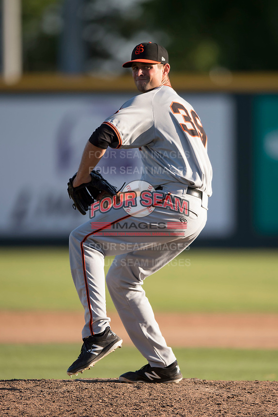 San Jose Giants relief pitcher CJ Gettman (39) prepares to deliver a pitch during a California League game against the Modesto Nuts at John Thurman Field on May 9, 2018 in Modesto, California. San Jose defeated Modesto 9-5. (Zachary Lucy/Four Seam Images)
