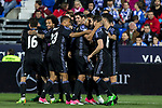 Sergio Ramos, Lucas Vazquez, Alvaro Morata and Nacho Fernandez celebrates after scoring a goal during the match of  La Liga between Club Deportivo Leganes and Real Madrid at Butarque Stadium  in Leganes, Spain. April 05, 2017. (ALTERPHOTOS / Rodrigo Jimenez)
