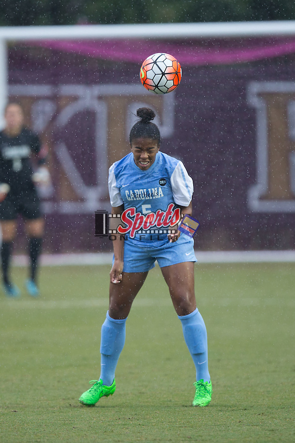 Maya Worth (5) of the North Carolina Tar Heels heads the ball during first half action against the Wake Forest Demon Deacons at Spry Soccer Stadium on September 27, 2015 in Winston-Salem, North Carolina.  The Tar Heels defeated the Demon Deacons 1-0.  (Brian Westerholt/Sports On Film)