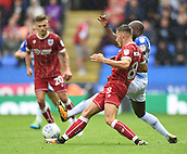 9th September 2017, Madejski Stadium, Reading, England; EFL Championship football, Reading versus Bristol City; Josh Brownhill of Bristol City is challenged by Sone Aluko of Reading