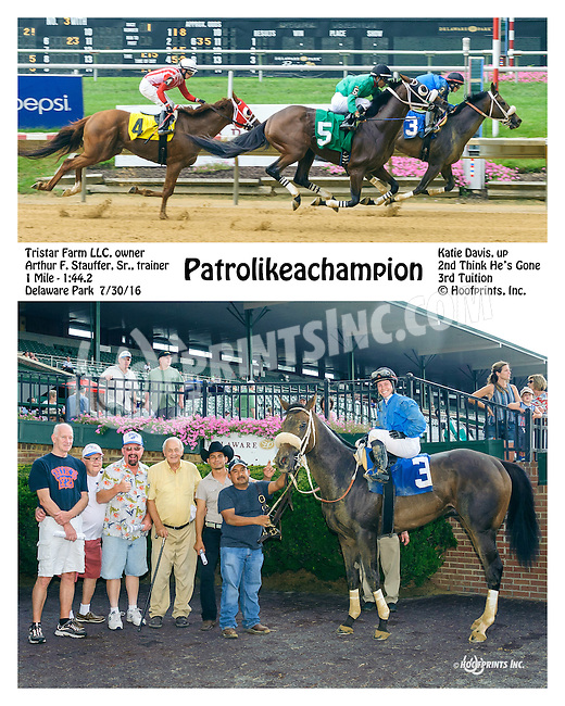 Patrolikeachampion winning at Delaware Park on 7/30/16<br /> Katie Davis' 1st win as a journeyman