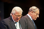 March 20, 2012 - Hempstead, New York, U.S. - CARL BERNSTEIN (left) and BOB WOODWARD  (right), investigative journalists, speak on 40th Anniversary of the Watergate political scandal, at Hofstra University. The lecture was about their investigation, while Washington Post reporters, into the break-in, and its cover-up, of the Democratic National Headquarters at the Watergate office complex in Wash. DC, which lead to the resignation of Pres. Nixon.