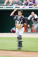 Brett Austin (10) of the Kannapolis Intimidators throws the ball back to his pitcher during the game against the Delmarva Shorebirds at CMC-NorthEast Stadium on July 3, 2014 in Kannapolis, North Carolina.  The Shorebirds defeated the Intimidators 6-5. (Brian Westerholt/Four Seam Images)