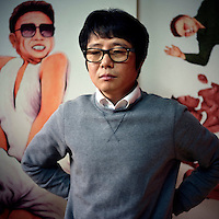 Song Byeok, a painter who works with irony and satire, was originally an official state propaganda artist in North Korea. He lost faith in the North Korean government during the 1990's when his family starved to death during a famine that killed millions. He escaped North Korea in 2002 after being tortured by the regime, and today he lives in South Korea.