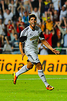 Thursday  01  August  2013<br /> <br /> Pictured:Alejandro Pozuelo celebrates after scoring  the fourth Swansea City goal <br /> Re:UEFA Europa League Third Qualifying Round -1st Leg Swansea City vs Malmo FF