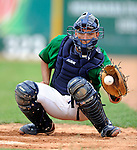 17 June 2008: Vermont Lake Monsters catcher Chris Solis warms up prior to Opening Day against the Oneonta Tigers at historic Centennial Field in Burlington, Vermont. The Lake Monsters defeated the Tigers 6-4 in the first game of their three-game season opening series in Vermont...Mandatory Credit: Ed Wolfstein Photo