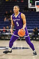 Washington, DC - December 22, 2018: High Point Panthers guard Curtis Holland III (5) dribbles the ball during the DC Hoops Fest between High Point and Richmond at  Entertainment and Sports Arena in Washington, DC.   (Photo by Elliott Brown/Media Images International)