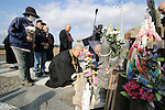 March 11, 2016, Tokyo, Japan - Buddhist monks and relatives of tsunami victims offer prayers before a small altar on for the victims of tsunami and earthquake on the area destroyed by the tsunami at Namie in Fukushima prefecture near the crippled TEPCO nuclear plant on Friday, March 11, 2016 on the fifth anniversary of the Great East Japan Earthquake and Tsunami.  (Photo by Yoshio Tsunoda/AFLO)