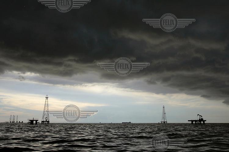 Oil equipment on Lake Maracaibo.