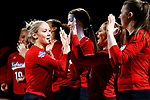 KANSAS CITY, KS - DECEMBER 14: Kelly Hunter #3 of the University of Nebraska is introduced prior to the Division I Women's Volleyball Semifinals held at Sprint Center on December 14, 2017 in Kansas City, Missouri. (Photo by Tim Nwachukwu/NCAA Photos via Getty Images)