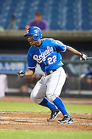 Silento Sayles Jr #22 of Port Gibson High School in Port Gibson, Mississippi playing for the Kansas City Royals scout team during the East Coast Pro Showcase at Alliance Bank Stadium on August 1, 2012 in Syracuse, New York.  (Mike Janes/Four Seam Images)