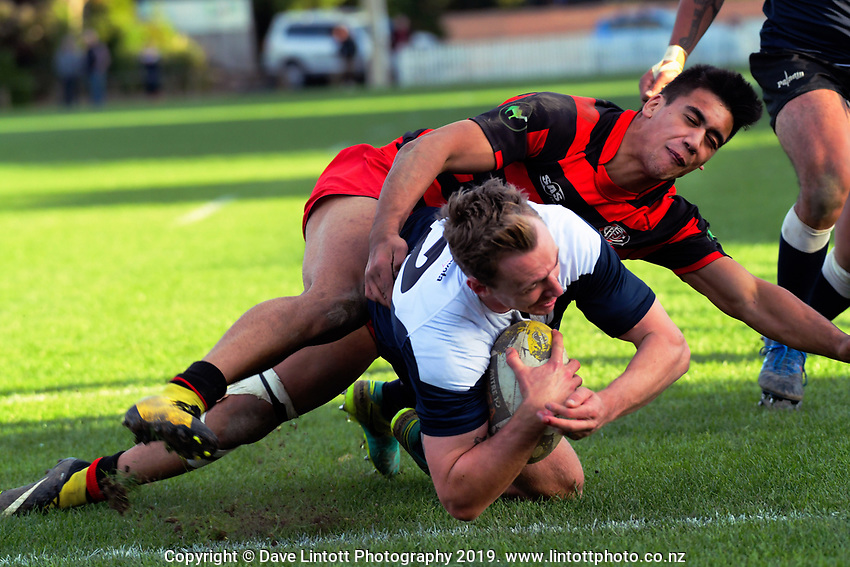 Action from the Wellington premier club rugby Swindale Shield match between Petone and Poneke at Petone Rec in Lower Hutt, New Zealand on Saturday, 25 May 2019. Photo: Dave Lintott / lintottphoto.co.nz