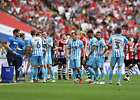 28th May 2018, Wembley Stadium, London, England;  EFL League 2 football, playoff final, Coventry City versus Exeter City; Coventry City and Exeter City players taking another drinks break during the 1st half