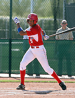 Sandy Garces #15 of the Dominican Prospect League All-stars plays against the Langley (British Columbia) Blaze in an exhibition game at Surprise Recreational Complex, the Texas Rangers minor league complex, on March 22, 2011 in Surprise, Arizona..Photo by:  Bill Mitchell/Four Seam Images