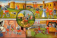 Folk art paintings depicting Sicilian historical stories, Palermo Pupet museum, Sicily