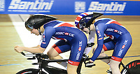Picture by Simon Wilkinson/SWpix.com - 02/03/2017 - Cycling 2017 UCI Para-Cycling Track World Championships, Los Angeles USA - Great Britain's Corrine Hall and Sophie Thornhill  winning Gold in the Women's B 3 km Individual Pursuit final.<br /> branding