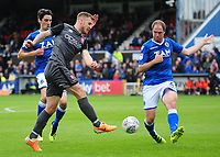 Lincoln City's Michael O'Connor vies for possession with Macclesfield Town's Keith Lowe<br /> <br /> Photographer Andrew Vaughan/CameraSport<br /> <br /> The EFL Sky Bet League One - Macclesfield Town v Lincoln City - Saturday 15th September 2018 - Moss Rose - Macclesfield<br /> <br /> World Copyright &copy; 2018 CameraSport. All rights reserved. 43 Linden Ave. Countesthorpe. Leicester. England. LE8 5PG - Tel: +44 (0) 116 277 4147 - admin@camerasport.com - www.camerasport.com