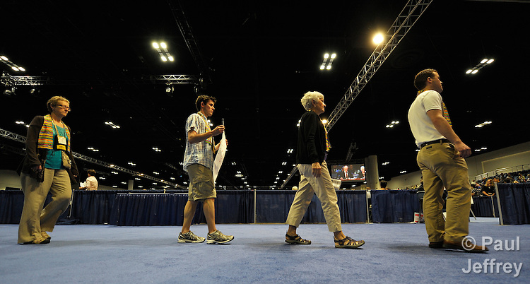Demonstrators at the May 1 session of the 2012 United Methodist General Conference in Tampa, Florida, calling on delegates to defeat or remove legislation that discriminates against people based on their sexual orientation.