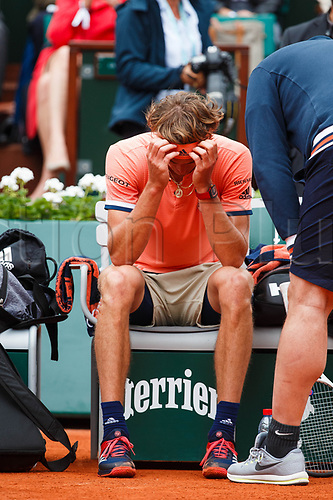 June 5th 2018, Roland Garros, Paris, France; French Open tennis tournament;  ALEXANDER ZVEREV (GER) during an injury time out in the day ten match of the 2018 French Open 2018
