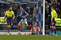 John Marquis of Portsmouth centre celebrates scoring the third and winning goal during Portsmouth vs Exeter City, Leasing.com Trophy Football at Fratton Park on 18th February 2020