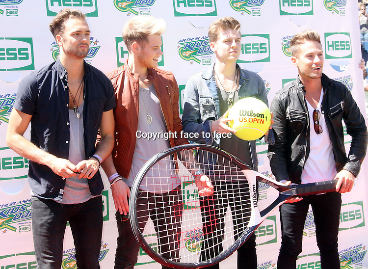 August 24, 2013 Lawson member Andy Brown, Ryan Fletcher, Joel Peat, Adam Pitt, attend the 2013 Arthur Ashe Kids' Day presented by Hess at the Arthur Ashe Stadium in Flushing Queen New York .<br />
