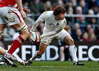 Photo: Richard Lane/Richard Lane Photography. England v Wales. 25/02/2012. England's Lee Dickson passes.